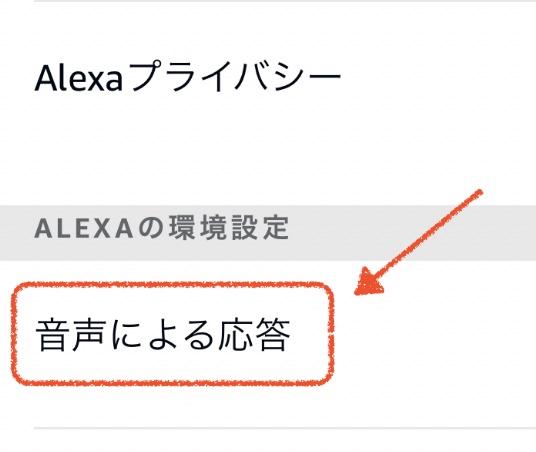 Amazon Alexa設定:音声による応答